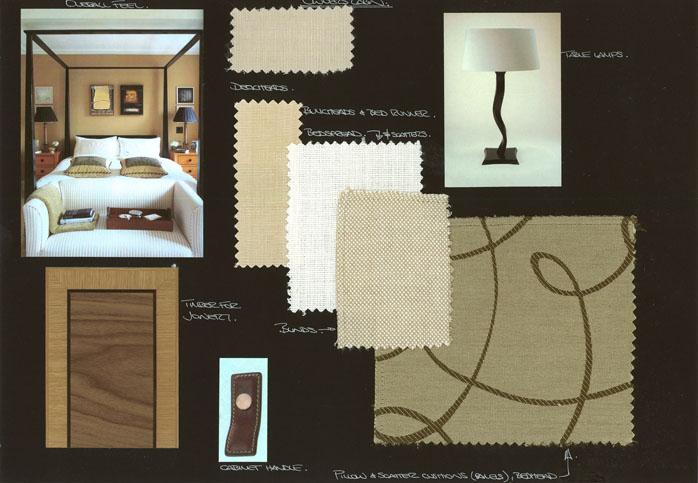 Early mood/fabric board 2005. Adam Lay Studio